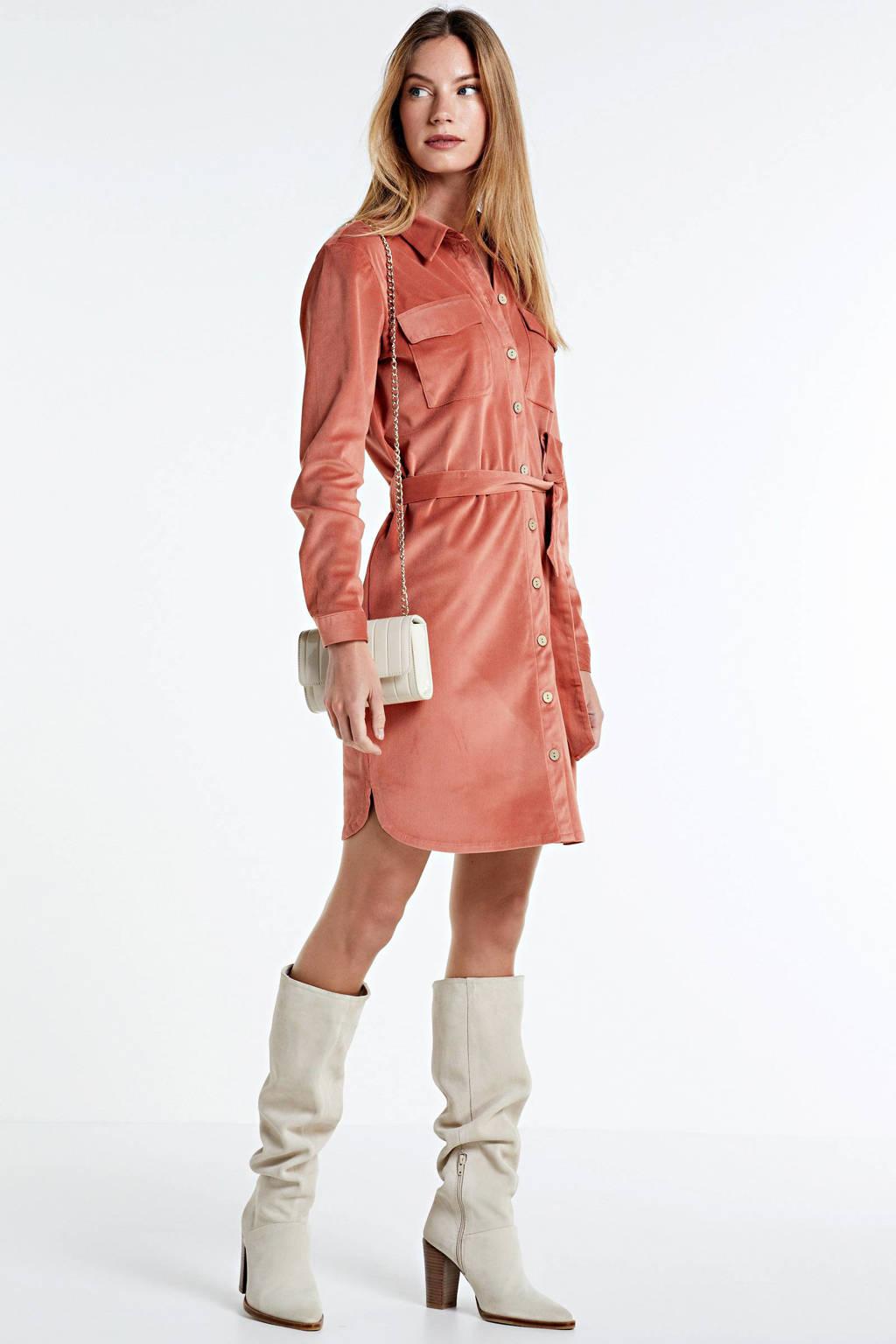 JACQUELINE DE YONG corduroy blousejurk Sofi met ceintuur oranje, Oranje