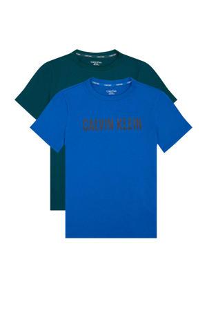T-shirt - set van 2 blauw/donkergroen