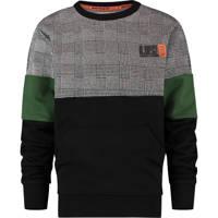Vingino sweater Nasri zwart/grijs/groen, Zwart/grijs/groen