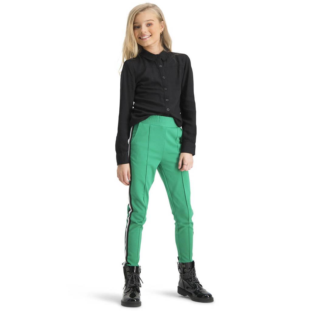 Vingino tapered fit broek Sevila met zijstreep gras groen, Gras groen