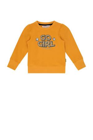 sweater Niska mini met tekst okergeel