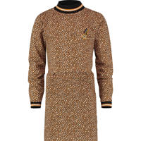 Vingino jersey jurk Pepper met all over print karamel bruin, Karamel bruin