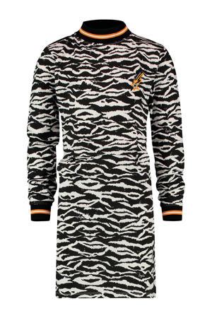 jersey jurk Pepper met zebraprint zwart/offwhite