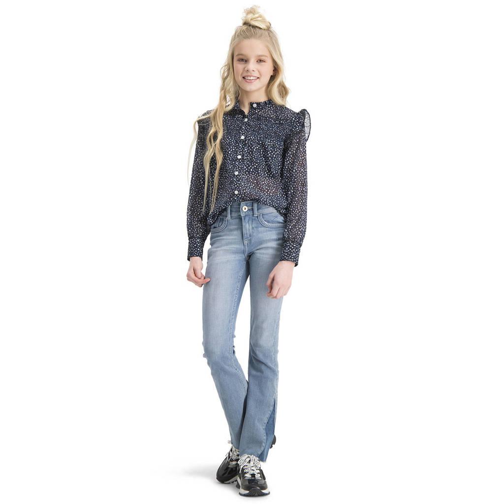 Vingino blouse Loesanne met all over print en ruches donkerblauw, Donkerblauw