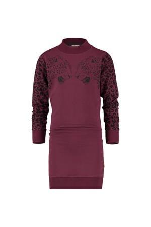 jersey jurk Palloes met printopdruk bordeauxrood