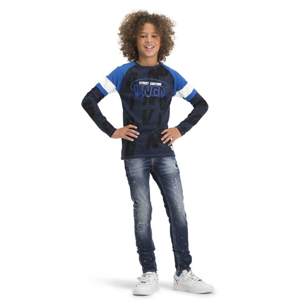 Vingino longsleeve Hezron met tekst donkerblauw/blauw/wit, Donkerblauw/blauw/wit
