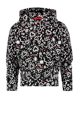 hoodie Noria met all over print zwart/wit