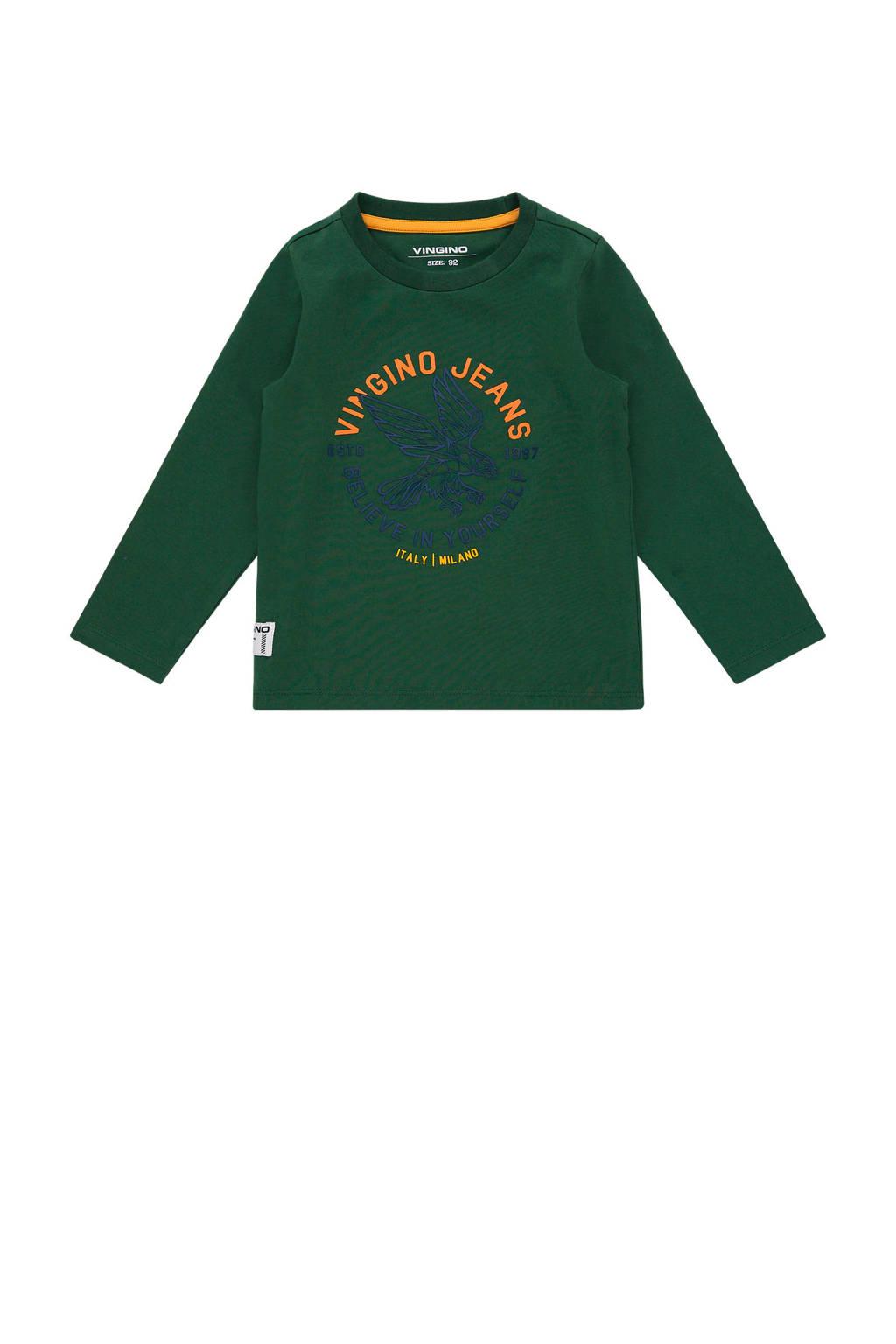 Vingino longsleeve Jadey mini met tekst groen, Groen