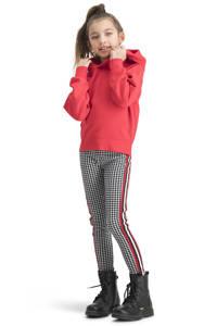 Vingino gestreepte regular fit legging Sarny met zijstreep zwart/rood, Zwart/rood