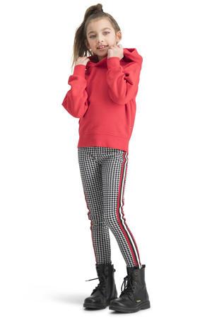 gestreepte regular fit legging Sarny met zijstreep zwart/rood