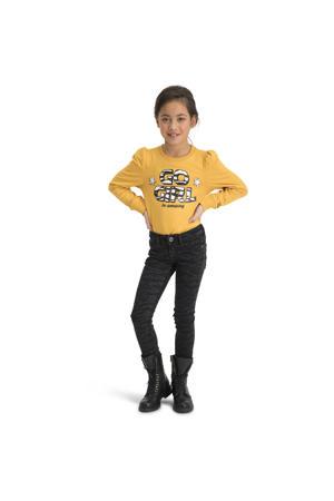 sweater Ninsy met tekst okergeel