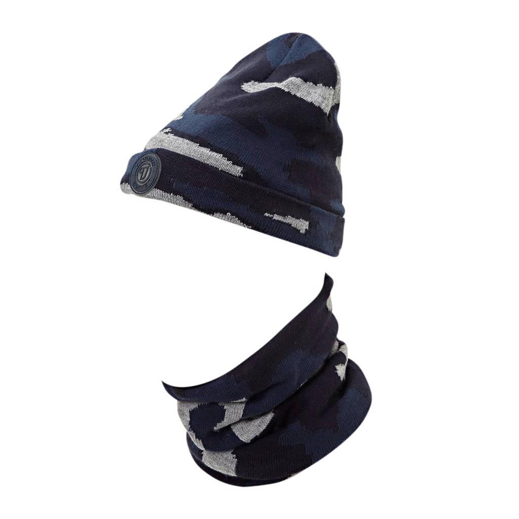 Vingino muts met sjaal met camouflageprint grijs, 910 Grey Mele