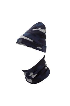 muts met sjaal met camouflageprint grijs
