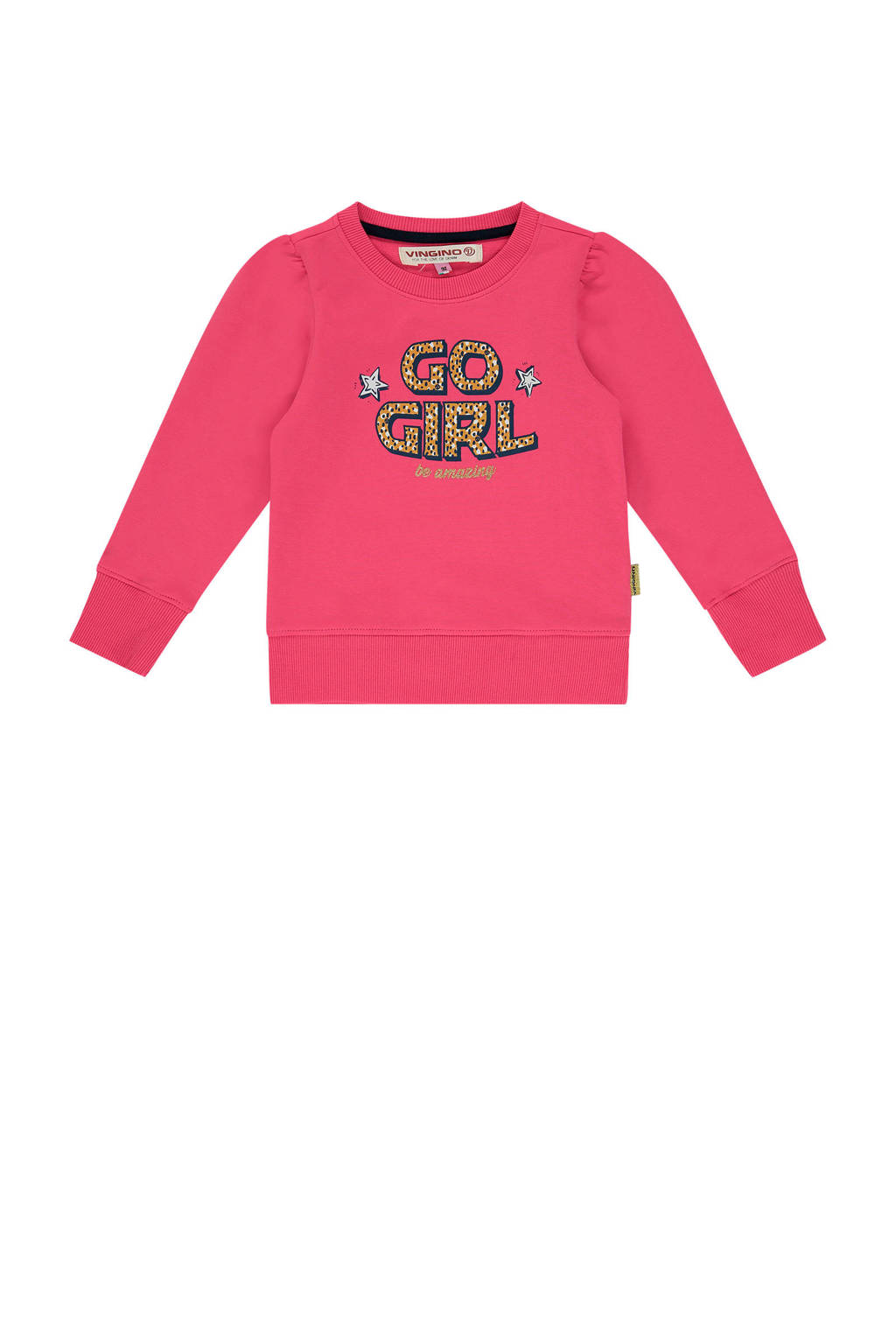 Vingino sweater Niska mini met tekst felroze, Felroze