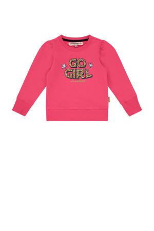 sweater Niska mini met tekst felroze