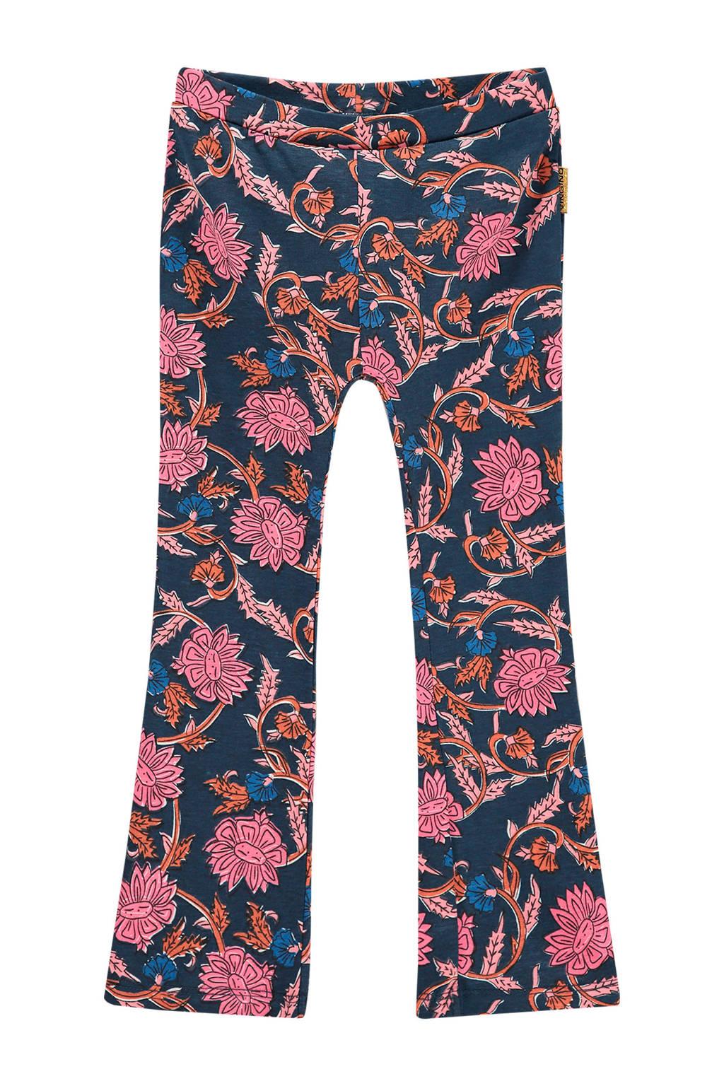 Vingino gebloemde flared broek Syfra mini donkerblauw/roze, Donkerblauw/roze