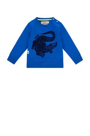 sweater Niels mini met printopdruk blauw