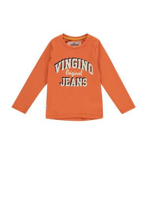 longsleeve Jente mini met logo warm oranje