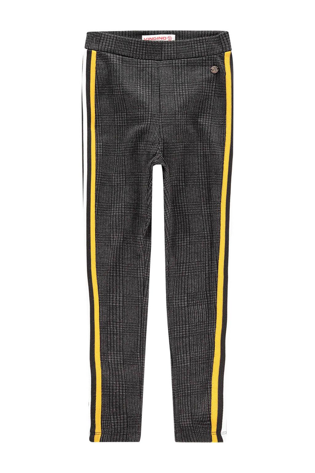 Vingino geruite regular fit legging Sarny met zijstreep zwart/geel, Zwart/geel