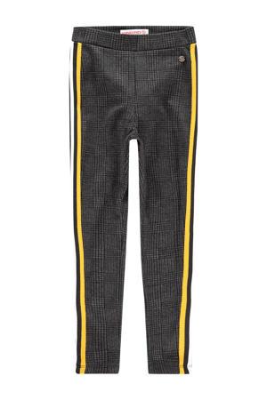 geruite regular fit legging Sarny met zijstreep zwart/geel