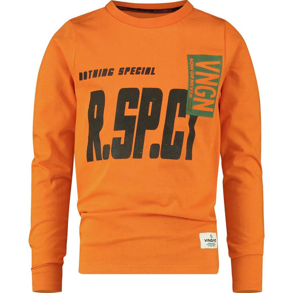 Vingino longsleeve Jaapio met tekst fel oranje, Oranje