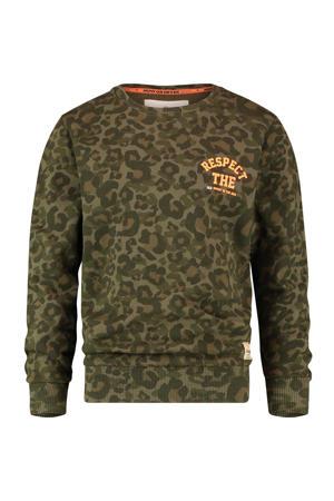 sweater Nahux met panterprint donkergroen