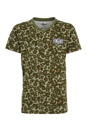 T-shirt Camole met allover print groen/bruin