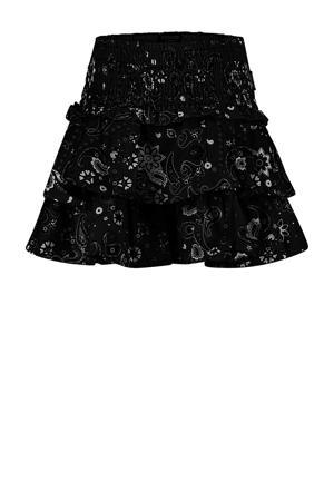 rok Qirah met all over print zwart