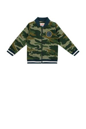 vest Mica mini met camouflageprint en patches donkergroen/groen