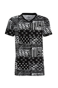 Vingino T-shirt Blocked met all over print zwart/wit, Zwart/wit