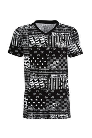 T-shirt Blocked met all over print zwart/wit