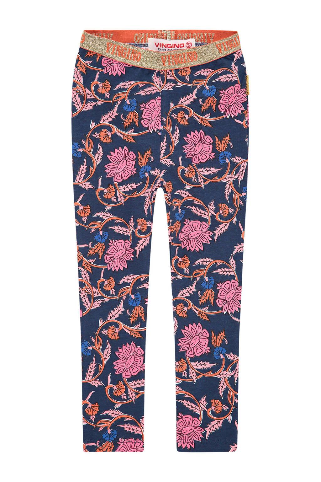 Vingino regular fit legging Stella mini met all over print donkerblauw/roze, Donkerblauw/roze