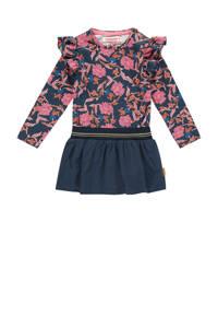 Vingino gebloemde jurk Ploy mini donkerblauw/roze, Donkerblauw/roze