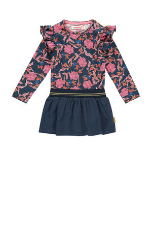 gebloemde jurk Ploy mini donkerblauw/roze