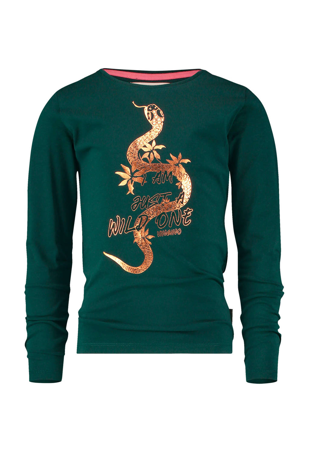 Vingino sweater Junna met printopdruk donkergroen, Donkergroen