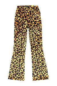 Vingino flared broek Scarlett met all over print okergeel/zwart