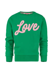 Vingino sweater Novela met tekst gras groen/lichtroze, Gras groen/lichtroze