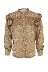Vingino blouse Loesanne met all over print en ruches karamel bruin, Karamel bruin