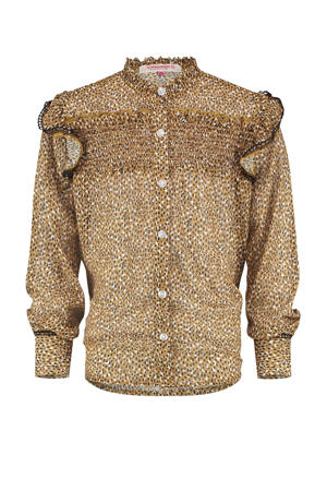 blouse Loesanne met all over print en ruches karamel bruin