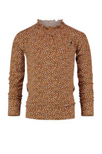 Vingino top Jildou met all over print en ruches karamel bruin, Karamel bruin