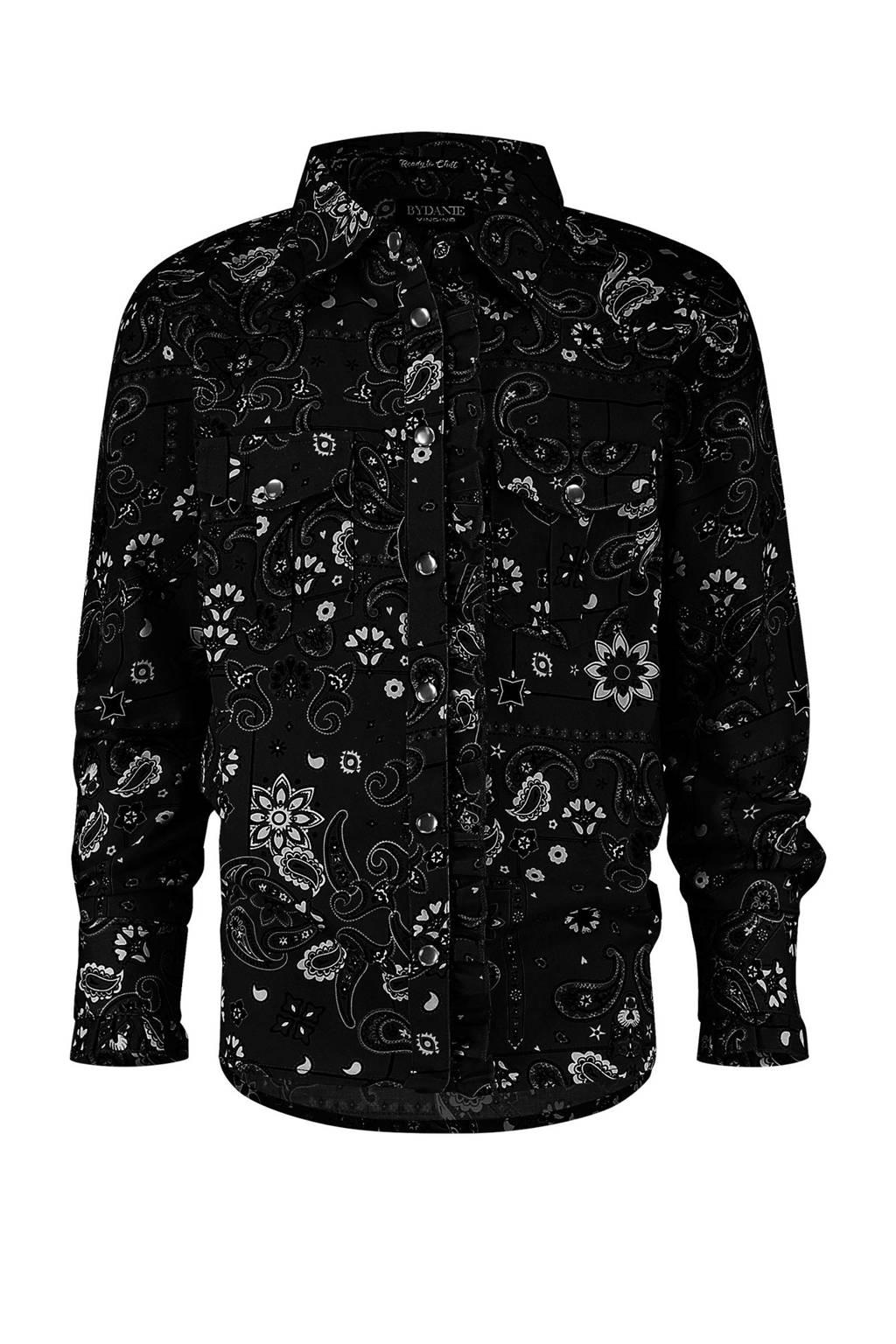 Vingino blouse Lucile met all over print zwart/wit, Zwart/wit