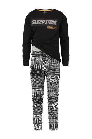 pyjama Wilmairo met printopdruk zwart/grijs