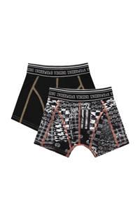 Vingino   boxershort Blocked - set van 2 zwart/wit, Zwart/wit