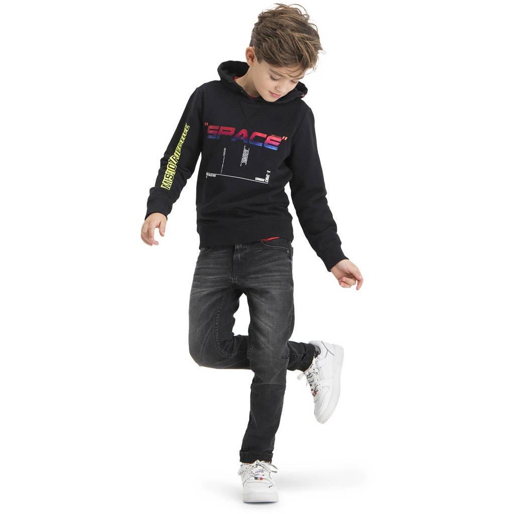 Vingino sweater Nerick met tekst zwart, Zwart