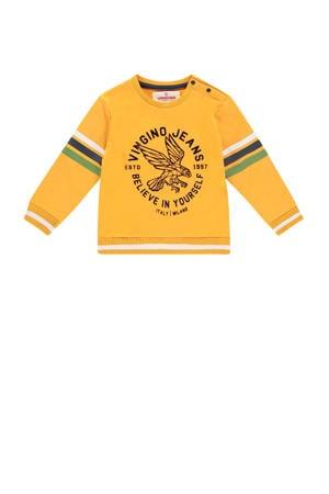 sweater Noud mini met printopdruk okergeel/blauw/groen