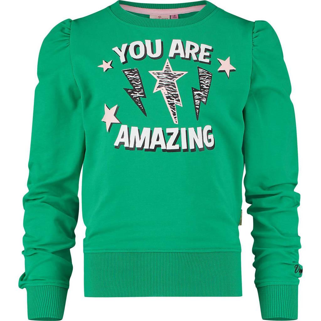 Vingino sweater Ninsy met tekst gras groen, Gras groen