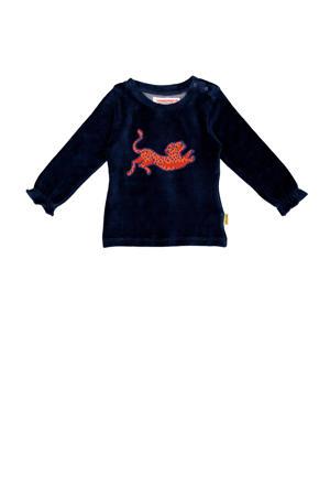 fluwelen longsleeve Jeva mini met printopdruk donkerblauw