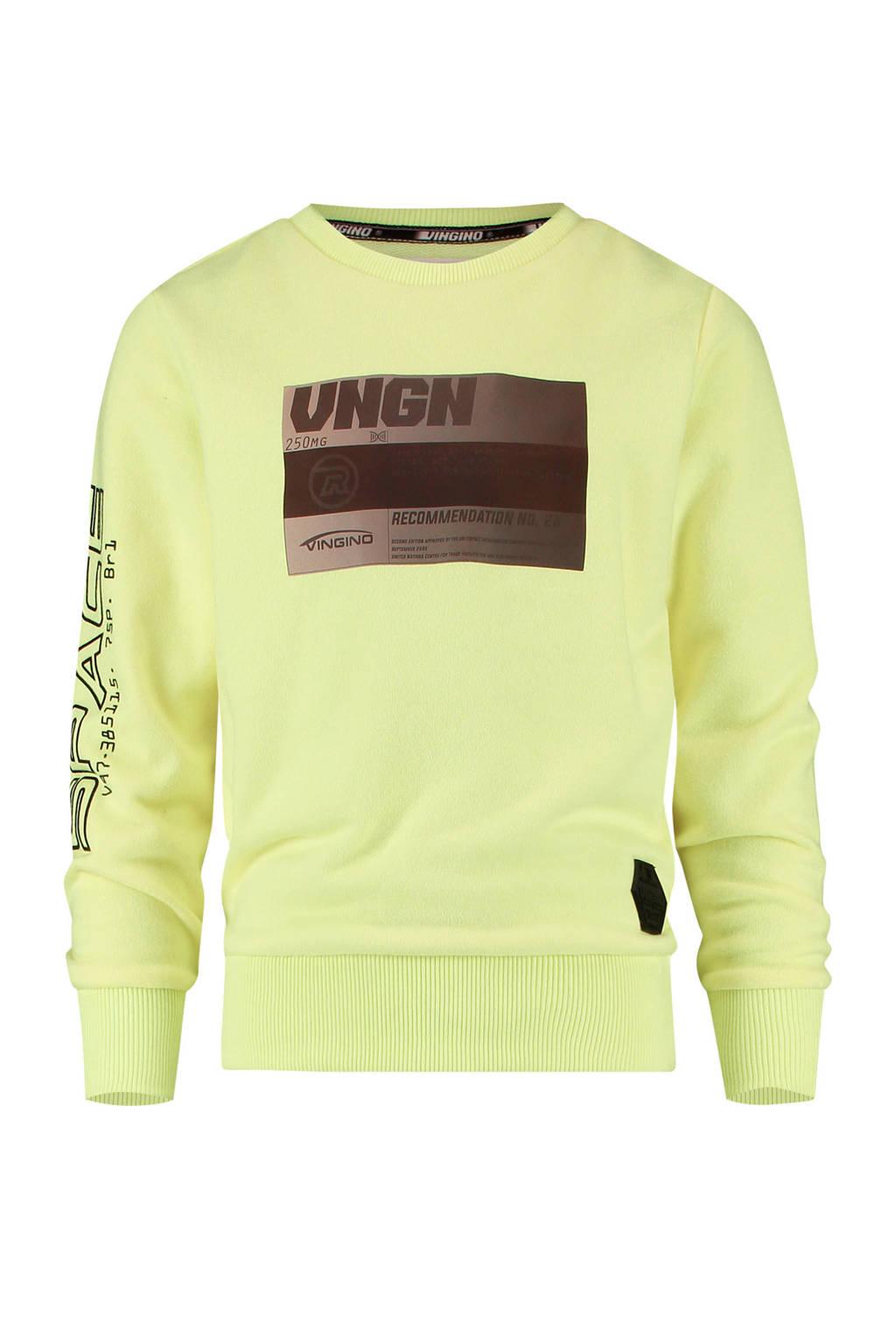 Vingino sweater Nemok met tekst geel, Geel