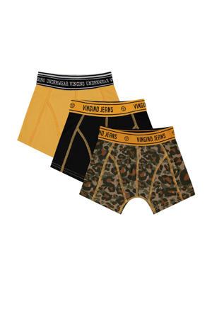 boxershort Camole - set van 3 groen/geel/zwart