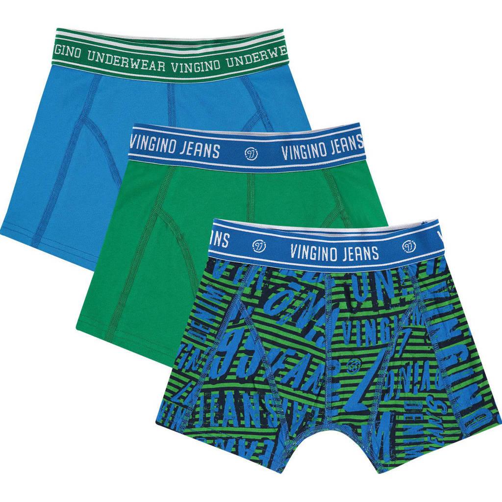 Vingino   boxershort 1997 - set van 3 blauw/groen, Blauw/groen